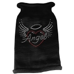 Angel Heart Rhinestone Knit Pet Sweater MD Black