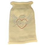 Angel Heart Rhinestone Knit Pet Sweater MD Cream