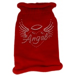 Angel Heart Rhinestone Knit Pet Sweater LG Red
