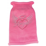 Angel Heart Rhinestone Knit Pet Sweater LG Pink