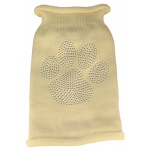 Clear Rhinestone Paw Knit Pet Sweater XS Cream