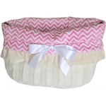 Pink Chevron Reversible Snuggle Bugs Pet Bed, Bag, and Car Seat All-in-One