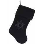 Star of David Rhinestone 18 inch Velvet Christmas Stocking Black