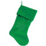 Star of David Rhinestone 18 inch Velvet Christmas Stocking Green