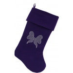 Clear Bow Rhinestone 18 inch Velvet Christmas Stocking Purple