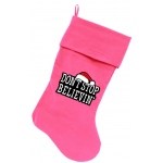 Don't Stop Believin Screen Print 18 inch Velvet Christmas Stocking Pink