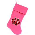 Argyle Paw Red Screen Print 18 inch Velvet Christmas Stocking Pink