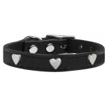 Silver Heart Widget Genuine Leather Dog Collar Black 18