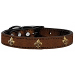 Bronze Fleur De Lis Widget Genuine Metallic Leather Dog Collar Bronze 16