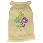 Mardi Gras Fleur De Lis Rhinestone Knit Pet Sweater SM Cream