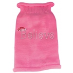Believe Rhinestone Knit Pet Sweater XS Pink