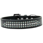 Ritz Pearl and AB Crystal Dog Collar Black Size 18