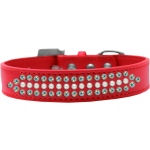 Ritz Pearl and AB Crystal Dog Collar Red Size 16