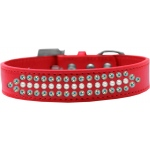 Ritz Pearl and AB Crystal Dog Collar Red Size 20
