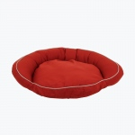 Carolina Pet Products CLASSIC COTTON CANVAS BOLSTER BED w/contrast cording: Red