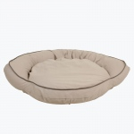 Carolina Pet Products CLASSIC COTTON CANVAS BOLSTER BED w/contrast cording: Khaki