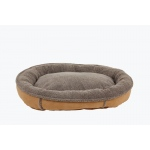 Carolina Pet Products FAUX SUEDE & TIPPED BERBER ROUND COMFY CUP®: Caramel