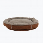 Carolina Pet Products FAUX SUEDE & TIPPED BERBER ROUND COMFY CUP®: Chocolate