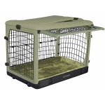 Pet Gear Deluxe Steel Dog Crate with Bolster Pad  - Medium/Sage