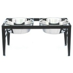 PetsStop Chariot Double Elevated Dog Bowl - Large/Black