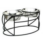 PetsStop Oval Cross Double Raised Feeder - Large/black