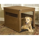 Mr. Herzher's Wicker Dog Crate - Small/Dark Brown