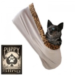Skull with Rose Rhinestone Puppy Holdem Sling Tan w/ Cheetah trim Size Lg/XL