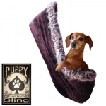 Skull with Rose Rhinestone Puppy Holdem Sling Eggplant Velour w/ Purple Leo trim Size Sm/Md