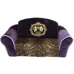 Royal Purple with Leopard Interior Pull Out Pet Sleeper Sofa Bed
