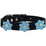 Flower Leather Collar Black With Baby Blue flowers Size 22