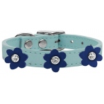 Flower Leather Collar Baby Blue With Blue flowers Size 10