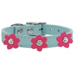 Flower Leather Collar Baby Blue With Pink flowers Size 16