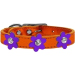 Metallic Flower Leather Collar Metallic Orange With Metallic Purple flowers Size 16