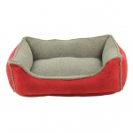 Carolina Pet Products FAUX SUEDE & TIPPED BERBER RECTANGLE COMFY CUP: RED