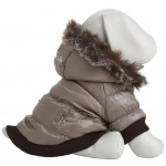 Pet Life Metallic Fashion Pet Parka Coat: Large, Metallic Grey