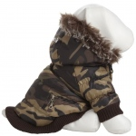 Pet Life Metallic Fashion Pet Parka Coat: Large, Camouflage