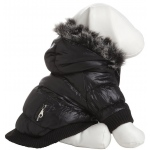 Pet Life Metallic Fashion Pet Parka Coat: Large, Metallic Black