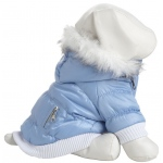 Pet Life Metallic Fashion Pet Parka Coat: Large, Metallic Blue