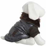 Pet Life Ultra Fur 'Track-Collared' Metallic Pet Jacket: X-Small, Metallic Brown