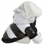 Pet Life Fashion Striped Ultra-Plush Pet Parka Coat: Small, Black & White