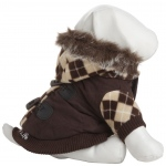 Pet Life Designer Patterned Suede Argyle Sweater Pet Jacket: Small, Brown