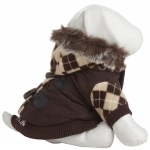 Pet Life Designer Patterned Suede Argyle Sweater Pet Jacket: Medium, Brown