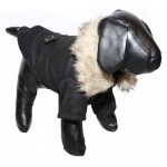 Pet Life Buttoned 'Coast-Guard' Fashion Faux-Fur Collared Wool Pet Coat: Small, Black/Brown