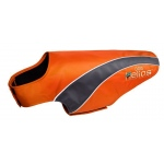 Helios Octane Softshell Neoprene Satin Reflective Dog Jacket w/ Blackshark technology: X-Large, Orange, Grey