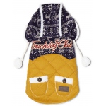 Touchdog Snowadayz Pom Pom Pet Hooded Sweater: Medium, Yellow / Blue