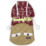 Touchdog Snowadayz Pom Pom Pet Hooded Sweater: Medium, Red / Beige
