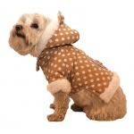Pet Life Polka-Dot Couture-Bow Pet Hoodie Sweater: X-Small, Brown Polka