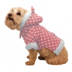 Pet Life Polka-Dot Couture-Bow Pet Hoodie Sweater: X-Small, Pink Polka