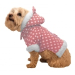 Pet Life Polka-Dot Couture-Bow Pet Hoodie Sweater: Small, Pink Polka