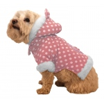 Pet Life Polka-Dot Couture-Bow Pet Hoodie Sweater: Medium, Pink Polka